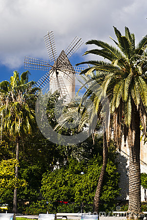 Traditional windmill in Palma de Majorca, Spain