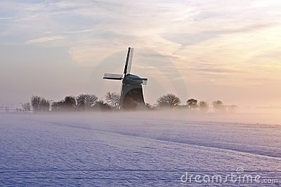 Traditional windmill in winter in the Netherlands