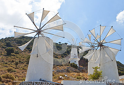 Traditional windmills at Crete, Greece