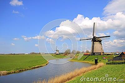 Traditional windmills in dutch landscape