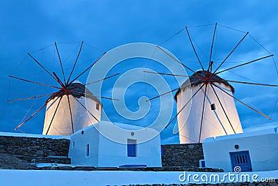 Traditional Windmills at Mykonos island