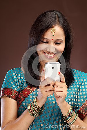 Traditional woman text messaging