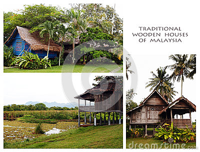 Traditional wood houses of Malaysia Collage