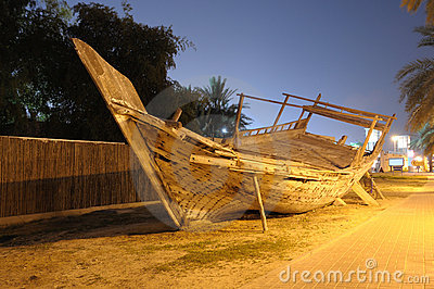 Traditional Wooden Dhow in Dubai