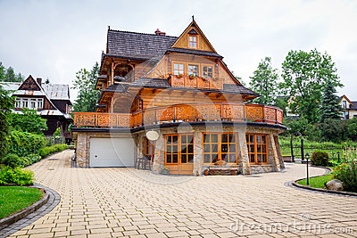 Traditional wooden house architecture in Zakopane