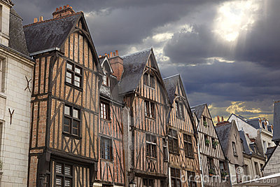 Traditional wooden houses in Tours town