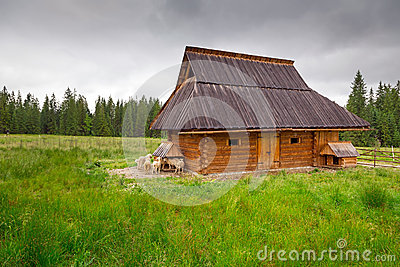 Traditional wooden hut in Tatra mountains