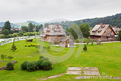 Traditional wooden village in Tatra mountains