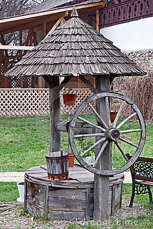 Traditional wooden water well