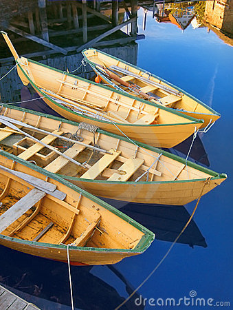 Traditional yellow Nova Scotia fishing boats