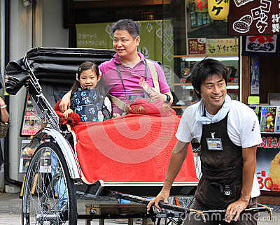 A traditionalJapanese rickshaw in Arashiyama district Editorial Stock Photo