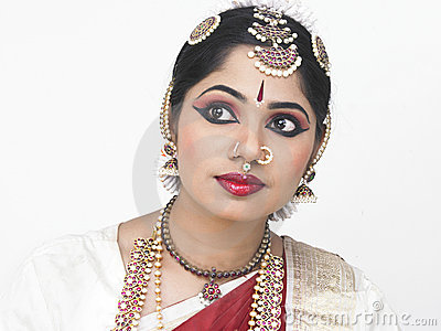 Traditionally attired asian bride