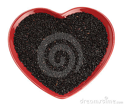 Traditionally Chinese black Rice in red heart