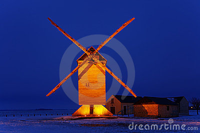 Traditionele houten windmolen