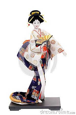 Traditionelle Japanische Geisha Puppe Stockfoto Bild