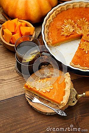 Traditioneller Amerikanischer Kürbiskuchen Stockfoto - Bild: 48614081