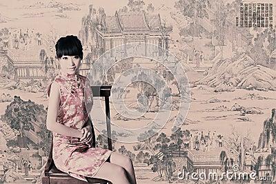 Tradycyjna smokingowa Chińczyk dziewczyna