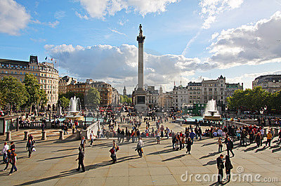 Trafalgar Square in London Editorial Stock Image