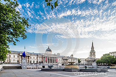 Trafalgar Square and National Gallery in London
