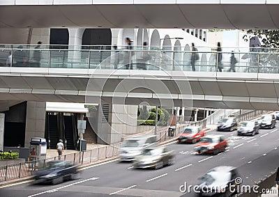 Traffic Along Busy Hong Kong Street Editorial Photo