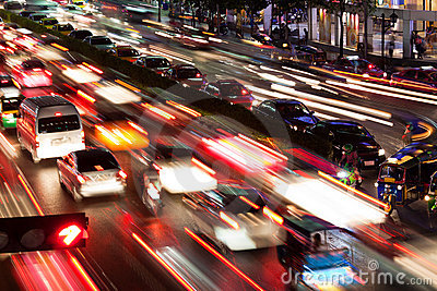 Traffic in Bangkok by night
