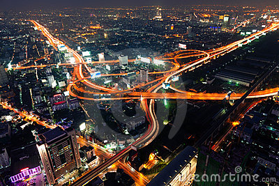 Traffic in Bangkok by night
