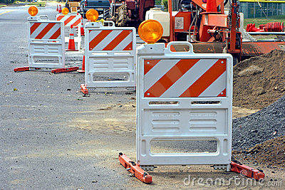 Traffic Barriers at Road Construction Work Site