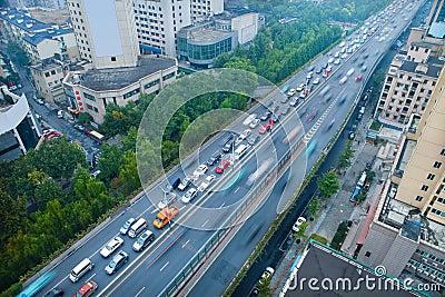 Traffic with blur motion car