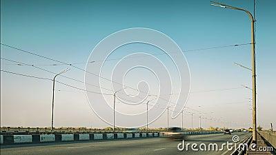 Traffic on the bridge. Timelapse stock video