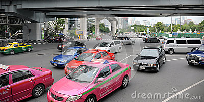 Traffic at a Busy Junction in Bangkok Editorial Photo