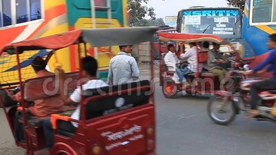 Traffic on Bypass Road in Dinajpur, Bangladesh. Dinajpur, Bangladesh - November 8, 2016: Traffic on Bypass Road in Dinajpur Bangladesh stock footage