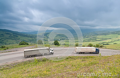 Traffic at the Carpathian Mountains road