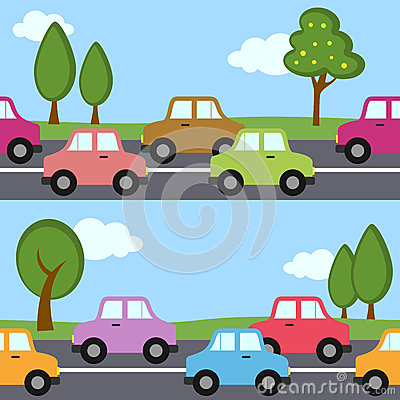Traffic Cars Seamless Pattern