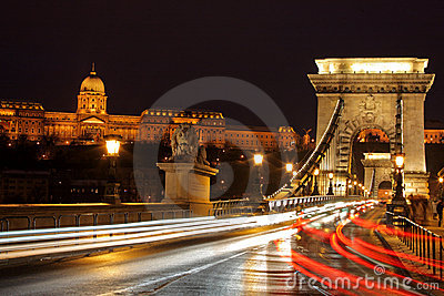 Traffic at Chain bridge, Budapest