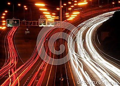 Traffic chaos at night.