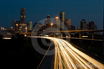 Traffic and the City skyline at Night