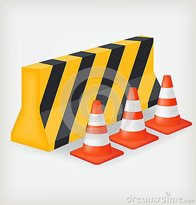 Traffic cone and block road