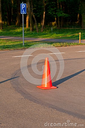 Traffic cone on the parking