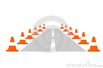 Traffic Cone Cartoon Traffic cone on a road.Cartoon flat vector illustration. Objects on a ...