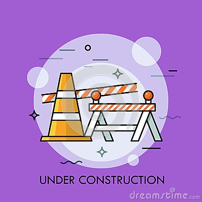Free Traffic Cone, Road Safety Barrier And Restrictive Tape. Concept Of Website Under Construction, Error 404, Repairing Royalty Free Stock Images - 109695459