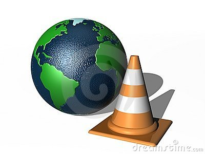 Traffic cone and world globe