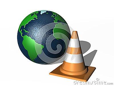 Traffic cone and world globe