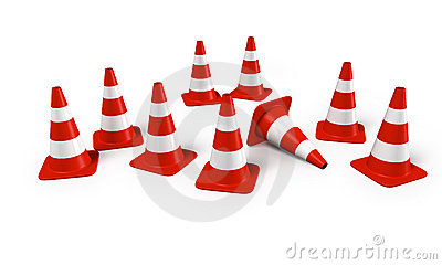 Traffic cones in a group