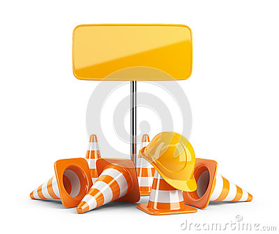 Traffic cones and hard hat. Road sign. isolated