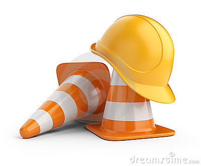 Traffic cones and hardhat. Road sign.