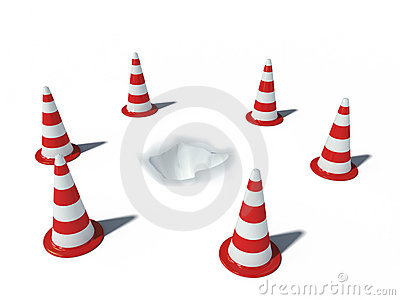 Traffic cones with hole