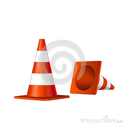Traffic cones  isolated object