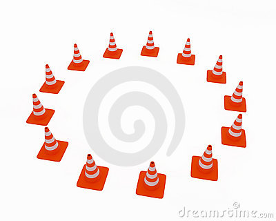 Traffic cones located on a cir