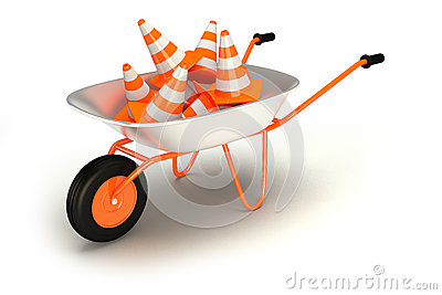 Traffic cones in wheelbarrow. Repair of road