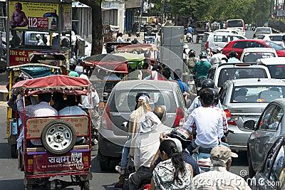 Traffic Congestion, Street Scene, City People in India